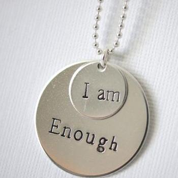 Two Disc Personalized Quote Necklace, Sterling Silver