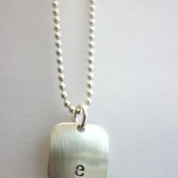 Personalized Initial Necklace, Sterling Silver, 1/2